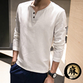 2017 Nueva Primavera de La Moda Otoño Sólido Slim Fit de Manga Larga T camisa de Cuello V Para Hombre Famoso Hombres Camiseta de Algodón de Lino Ocasional camiseta