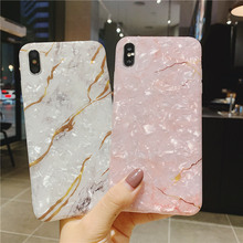 Glitter fritillaria conch shell hull case for iphone7 8 plus xs max shiny marble pink white cover iphone xr x xsmax 7 6 6s