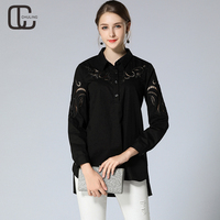 New Autumn Women's Hollow Embroidery Black Blouse Ladies Elegant OL Plus Size Shirts Long Sleeves Shirt Woman Tops M 5XL