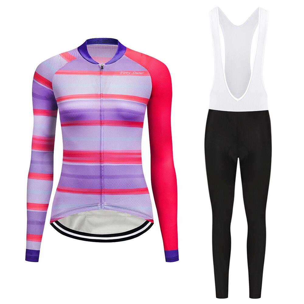 2017 Firty sonw Womens Cycling Jerseys Set Long Sleeves MTB Jersey Pad Pants Bike Bicycle Jacket Sets Shirts Wear Uniforms