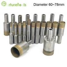 цена на 5pcs Sintered diamond hole saw steel body drill bit for glass and agate total Length 50mm Diameter 60~78mm glass tool zt004