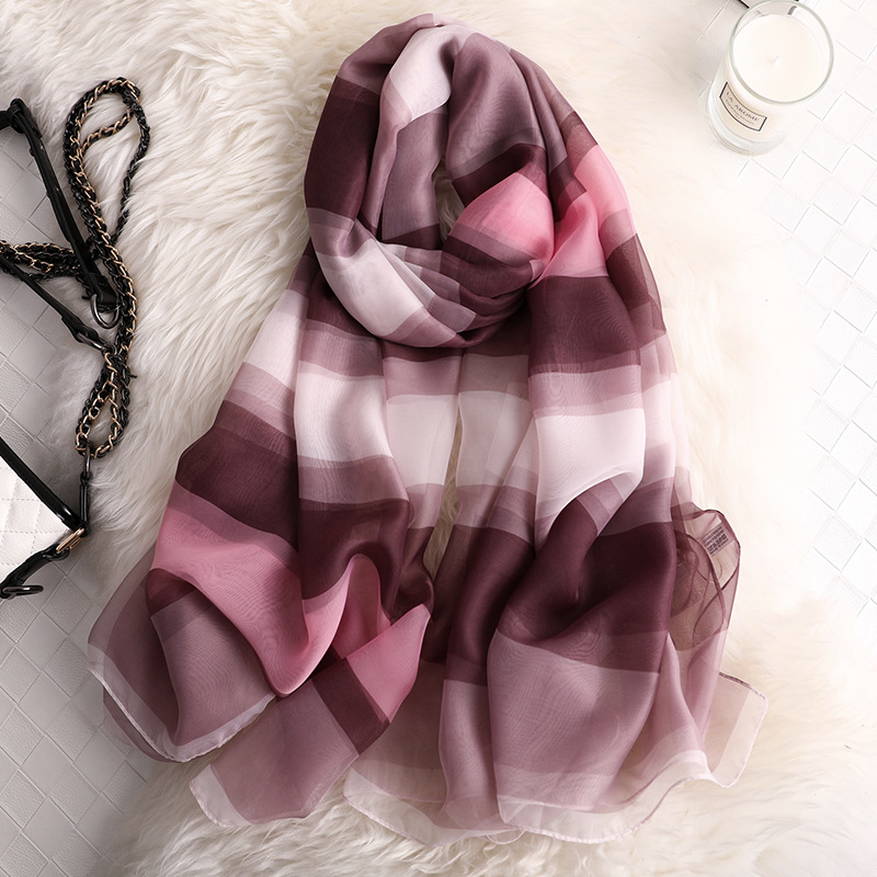 Luxury Brand 2019 New Women's Long Scarf Fashion Lady Stripe Silk Scarves Print Shawls And Wraps Pashmina Foulard Bandana Hijab