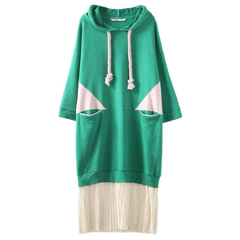 Automne Fille À Femme Sportstyle Capuchon Poche Femmes Patchwork Robe Green Printemps Cordon Robes Samstree 15BZq4wB