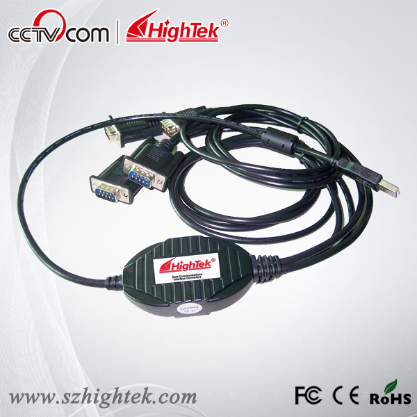 HighTek  HK-8204A Industrial USB to 4 Port  RS232 Serial Converter hightek hk 5110a industrial grade 1 port rs232 485 to 4 port rs485 hub each port with optical isolation 600w thunder protection