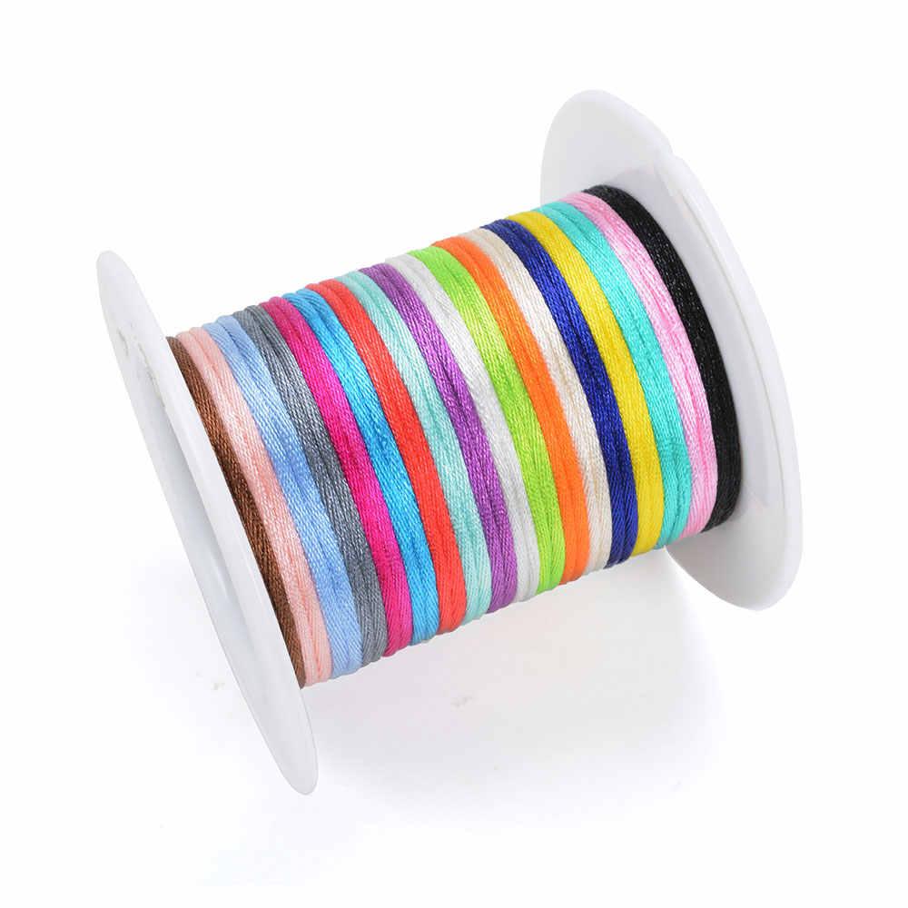 20 м/лот DIY нейлоновые шнуры 1,5 мм пустышка Клип цепь для ожерелье-прорезыватель сделать веревку силиконовые бусины ручная работа из атласа Ювелирная нить