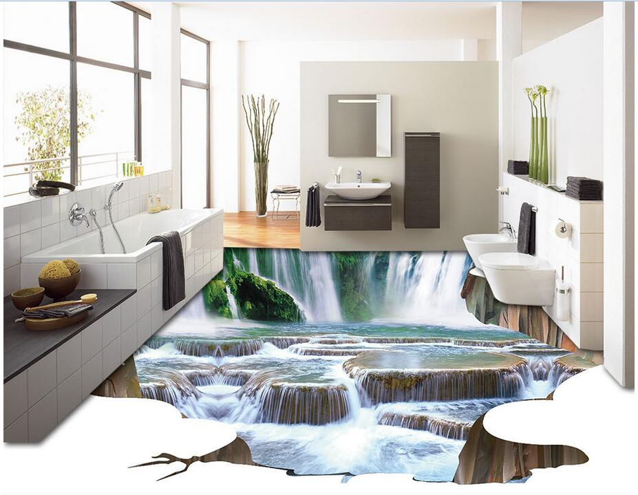 3d pvc flooring custom photo bedroom waterproof floor The waterfall river painting 3d wall murals wallpaper for living room 3d wallpaper custom 3d flooring painting wallpaper murals nine fish 3d stereograph floor pebbles lotus leaf room photo wallpaper