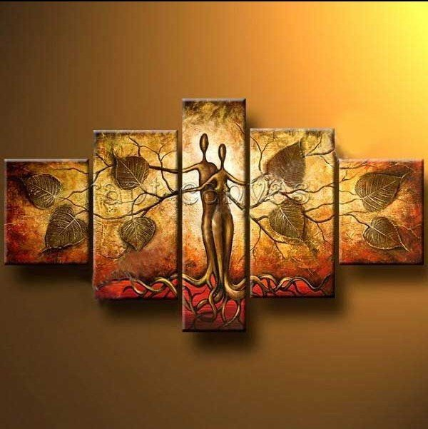 hand-painted Art Humanoid leaves Sky  High Q. Wall Home Decor Landscape Oil Painting on canvas framed  5pcs/set