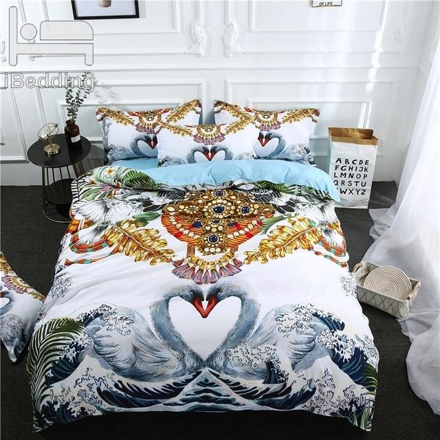 3Pcs/Set White Mandarin Duck LOVE Printed Duvet Cover Set 3D Bedding Sets Queen King Twin Size