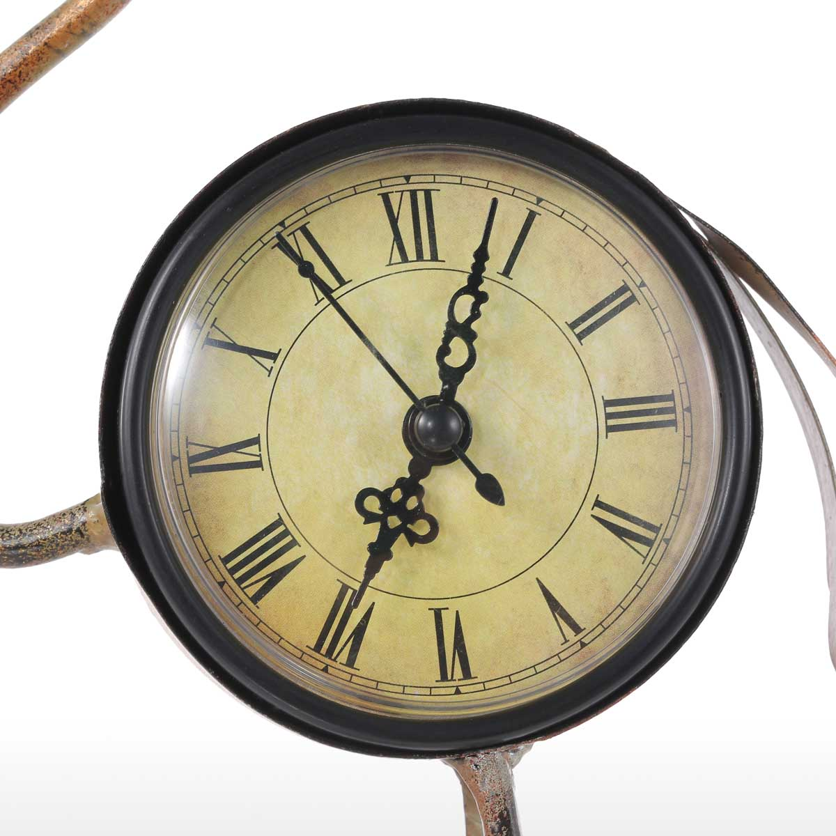 Tooarts Flamingo Wrought Iron Clock Retro Desks Clock decoration ...