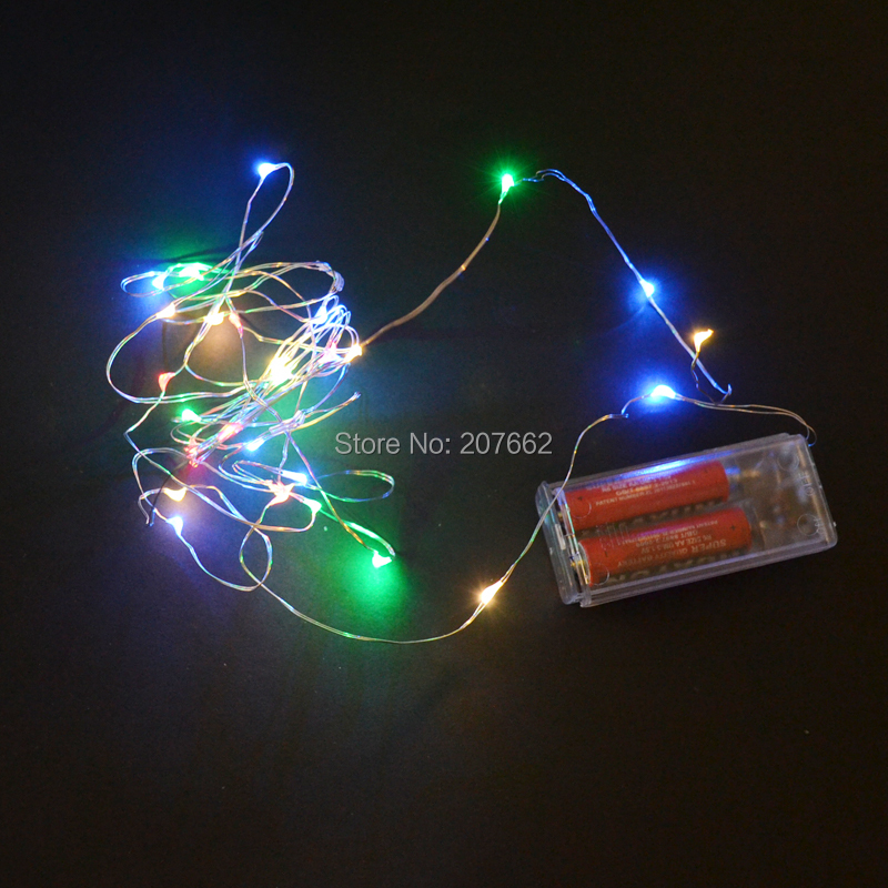 120PCS lot Fairy Light For Christmas Holidays 2M 3M 2AA Battery Powered LED Silver Color sliver