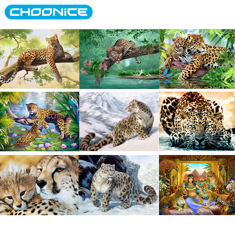 Diamond Painting Leopard DIY 3D Diamond Embroidery Cheetah Beast A Picture Of Rhinestones Mosaic Drawings Jungle Animals Picture