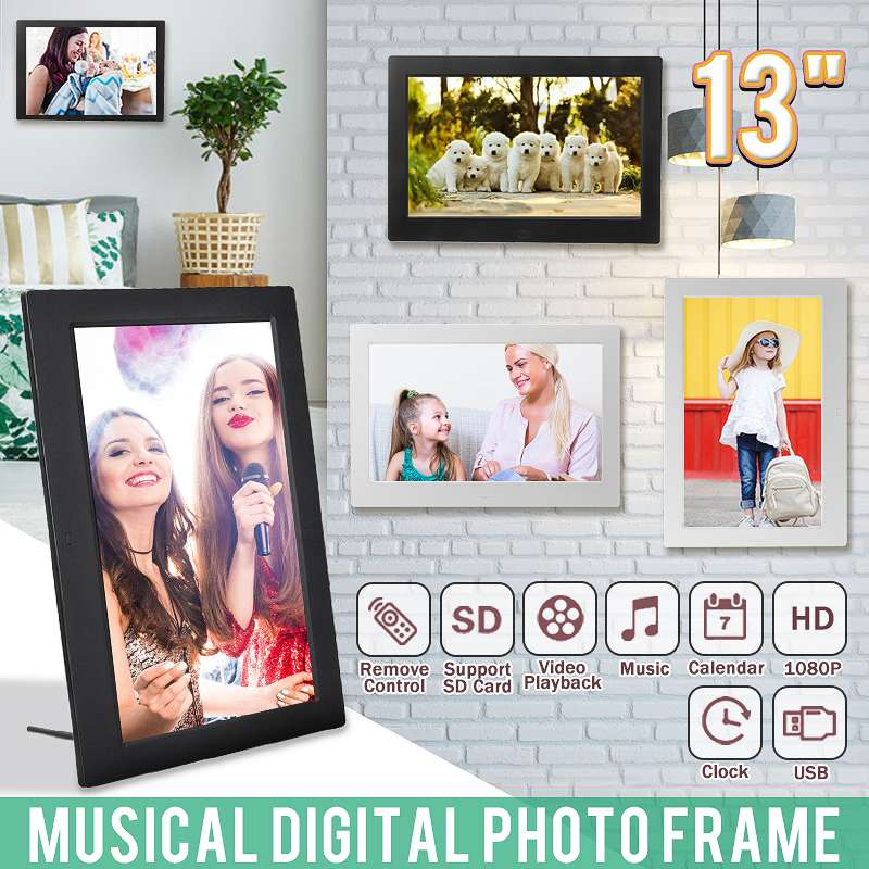 13'' 1080P HD Digital Photo LED Frame Picture MP4 Movie Player Clock Calendar with Package Gift for Display with Remote