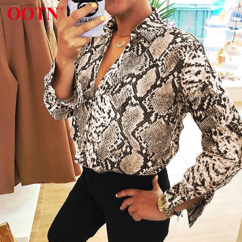 OOTN ヘビシルクシャツ長袖レディーストップスとブラウスオフィス夏サテンブラウス女性ヴィンテージアニマルプリント 2019 ファッション