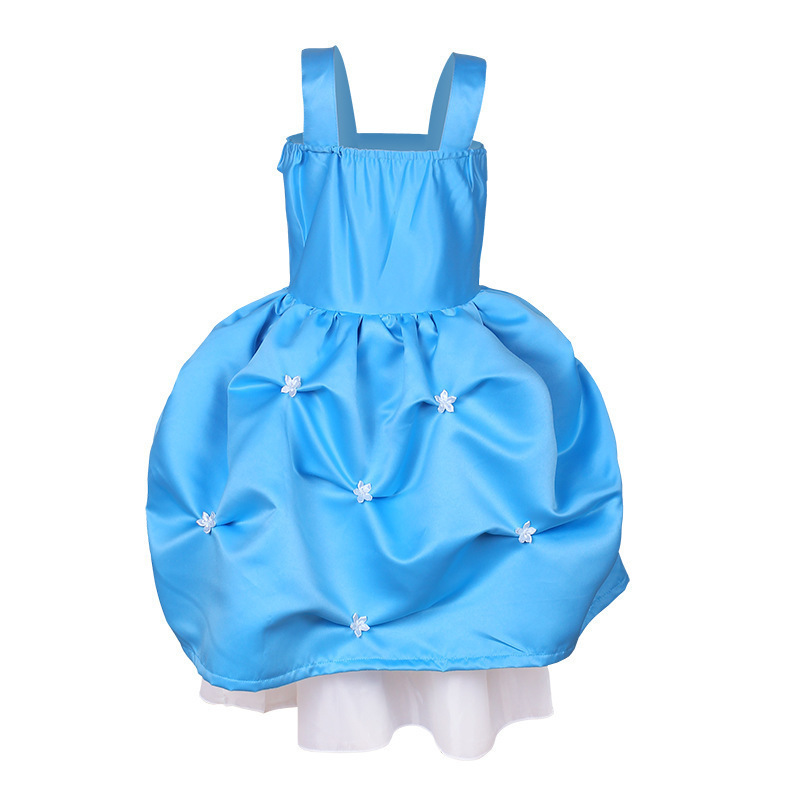 Summer Girl Dress Kids Sequin Mesh Party Wedding Princess Tulle Blue Kids Dresses For Girls Children Clothes