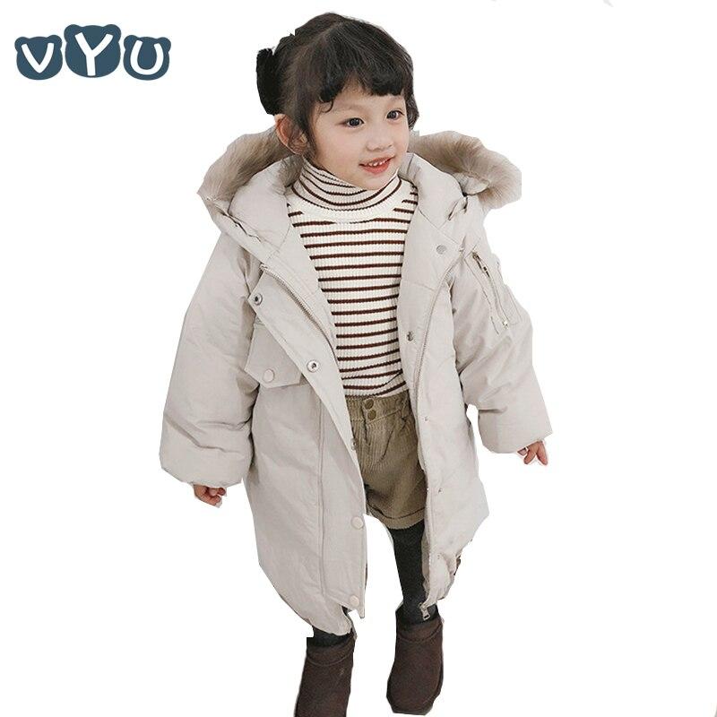 2018 Children Kids Girls Long Down Jacket Thicken Cotton Fur Collar Hooded Coat Warm Outwear Children
