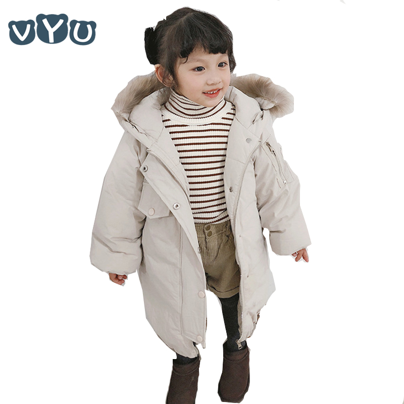 2018 Children Kids Girls Long Down Jacket Thicken Cotton Fur Collar Hooded Coat Warm Outwear Children Winter Clothes 1~10Y2018 Children Kids Girls Long Down Jacket Thicken Cotton Fur Collar Hooded Coat Warm Outwear Children Winter Clothes 1~10Y