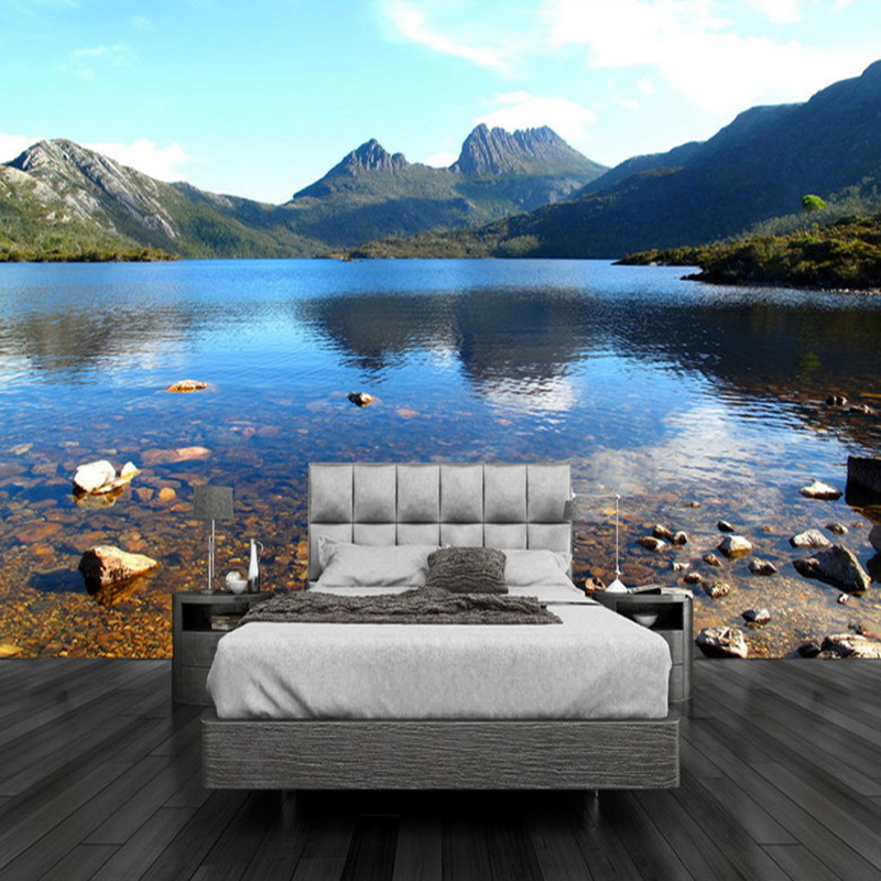 Custom Any Size 3D Mural Wallpaper Beautiful Lake Mountain Stream Nature Landscape Mural Modern Bedside Home Decor 3D Panel Wall custom 3d stereo ceiling mural wallpaper beautiful starry sky landscape fresco hotel living room ceiling wallpaper home decor 3d