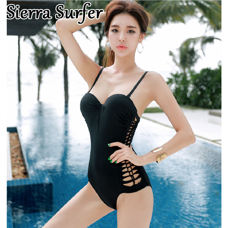 Swimwear Women Plavky Girls Swim Suit One Piece Plus Size 2018 New Korean Sexy Swimsuit Black Underwire Leaking Badpak Badeanzug sexy one piece swim suits swimsuit cheap bathing may beach girls 2017 korean new underwire triangle suit plavky damy bayan mayo