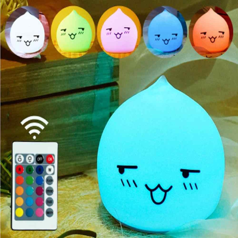 Пульт дистанционного управления кремниевый Красочный Светодиодный светильник с капелькой воды, usb зарядка, ночник, украшение, подарок