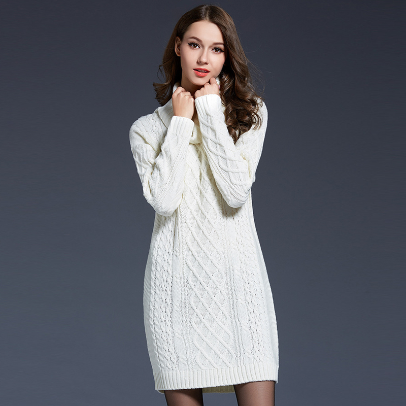 Newest Fashion Winter Dress Womens Long Sleeve Luxury Solid Turtleneck Warm Wool Sweater ...