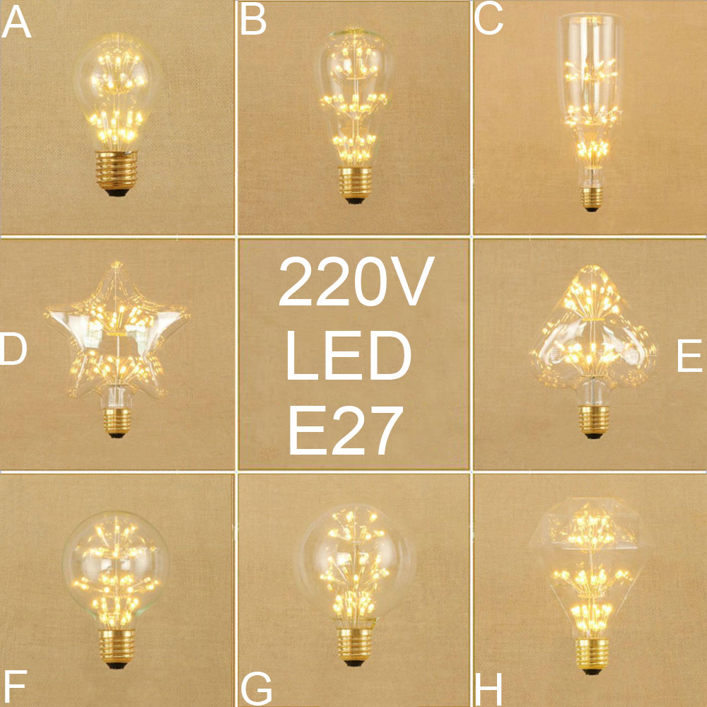 Vintage E27 HA CONDOTTO LA lampadina di Edison Retro home decor led lampadine a vite A19 ST64 G80 G95 Antico LED art Stellato warm lampadine bianco