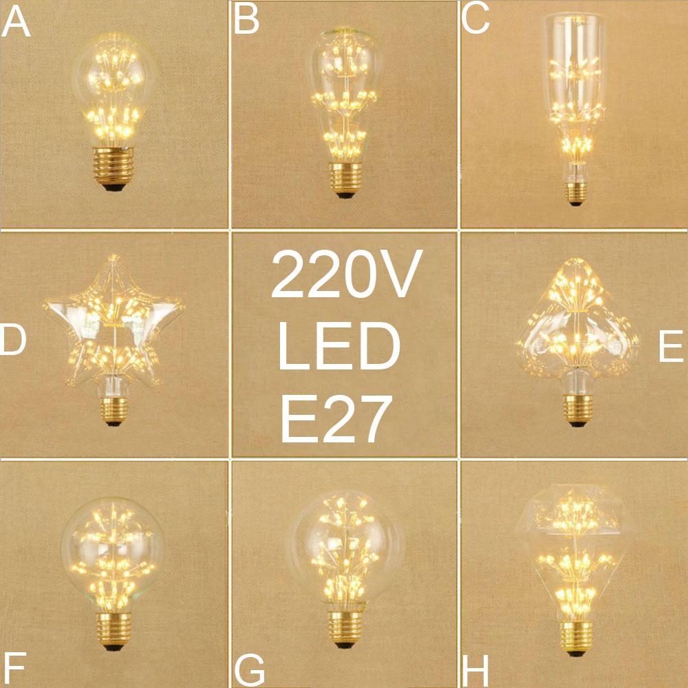 Vintage E27 LED Edison bulb Retro home decor led screw bulbs A19 ST64 G80 G95 Antique LED art Starry warm white bulbs