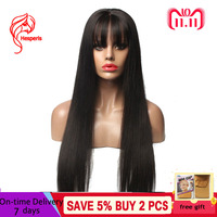 Hesperis Lace Front Human Hair Wigs Pre Plucked Brazilian Remy Hair Lace Front Wig With Bang 130 Density 13X6 Silk Straight Wigs