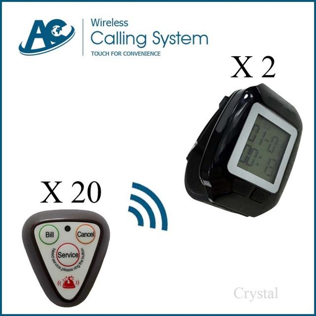 20 botones + 2 relojes reloj localizador restaurante servicio de servidor inalámbrico restaurante Wireless camarero sistema de llamada de la huésped digtal