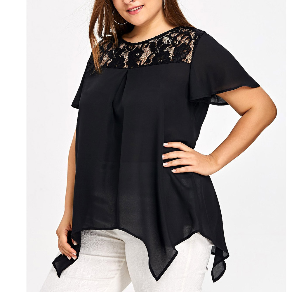Plus size Lace Blouse shirts women summer Fashion O Neck Short Sleeve Tee shirt loose casual Shirt Big Size XL XXL 4XL 5XL