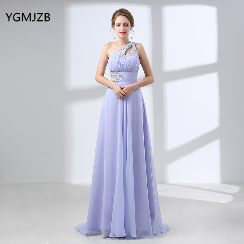 Elegant Chiffon Bridesmaid Dress Long Plus Size A line One Shoulder Beaded Floor Length Women Long Dresses Wedding Party Dress
