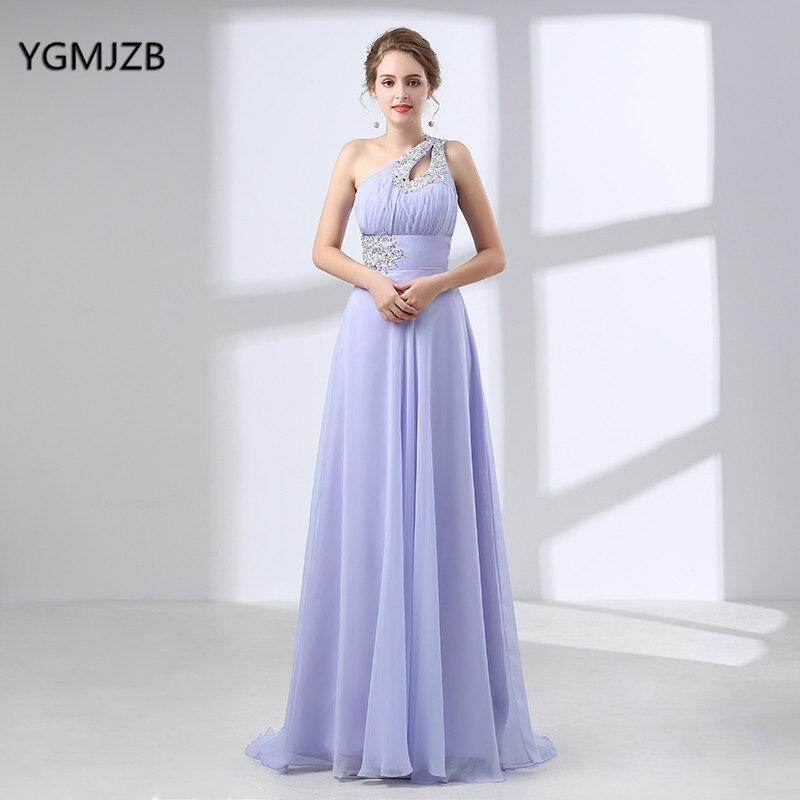 Robe de demoiselle d'honneur en mousseline de soie élégante longue grande taille une ligne une épaule perlée longueur de plancher femmes longues robes robe de soirée de mariage