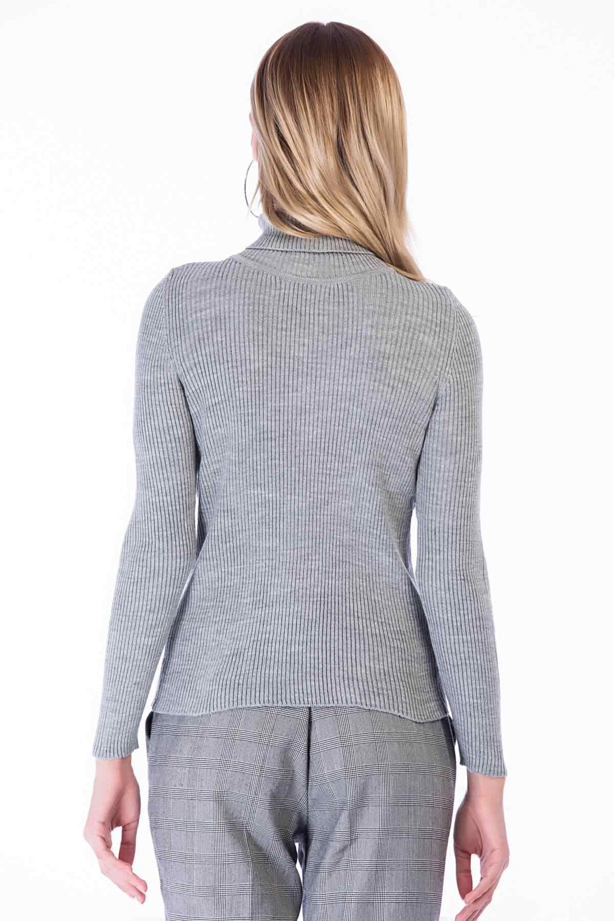 Cotton Mood Women Gray Slim Ribbed Camisole Turtleneck Long Sleeve Knitwear Sweater 8386000