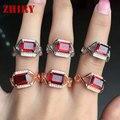 Anillo de granate Natural gem stone rings ZHHIRY verdadera plata de ley 925 Genuino de Las Mujeres