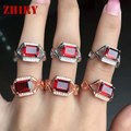 Natural garnet ring real 925 sterling silver Women Genuine gem stone rings ZHHIRY