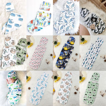 Newborn Baby Sleeping Bag Cute Cartoon Animal Printed Swaddle Blanket Sleeping Swaddle Muslin Wrap+Hat 2pcs New Born Set 1
