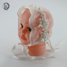 2pcs/lot Handmade Baby Girl Lace Bonnet with Pearl Blossom Vintage Style Hat Baby Photography Props Baby Shower Gift