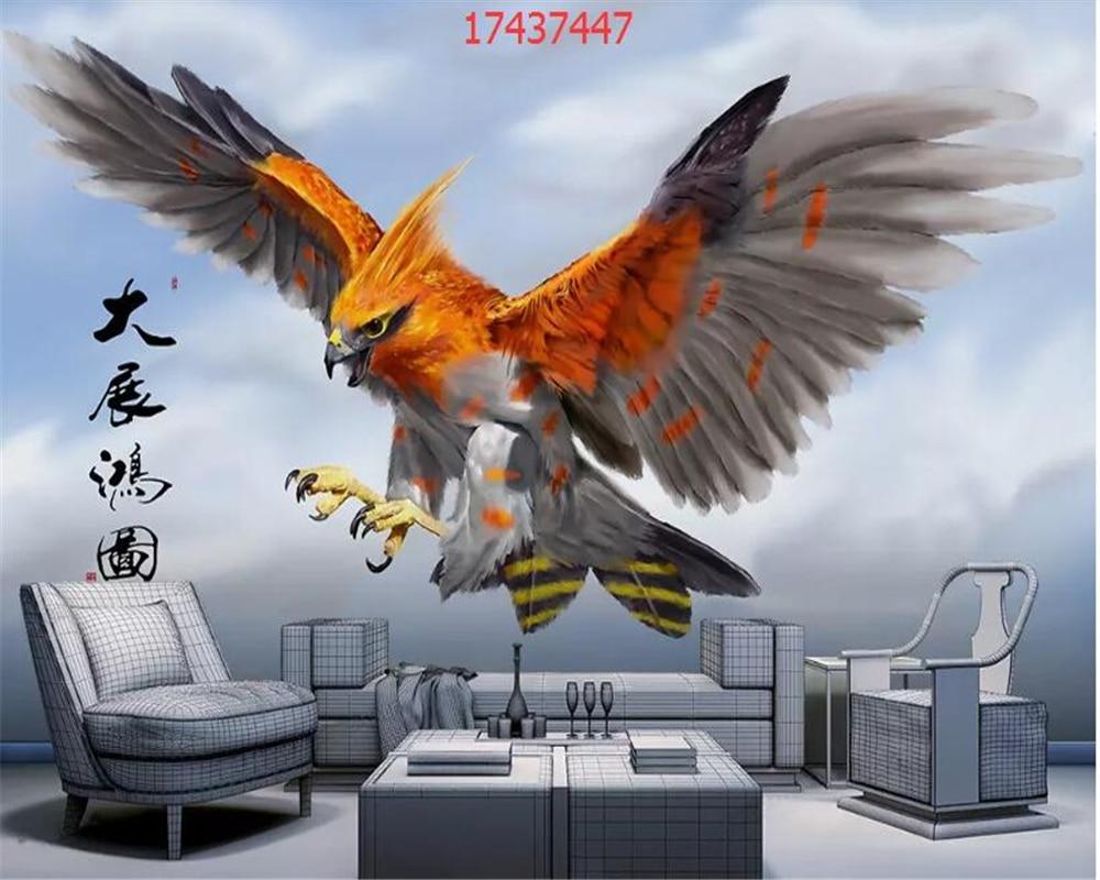 Купить с кэшбэком beibehang Custom size new Chinese snow mountain eagle wings blue sky landscape marble wall decoration painting behang wallpaper