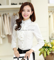 New Fashion Plus Size Elegant White 2015 Autumn Winter Women Work Wear Chiffon Blouses Formal Career