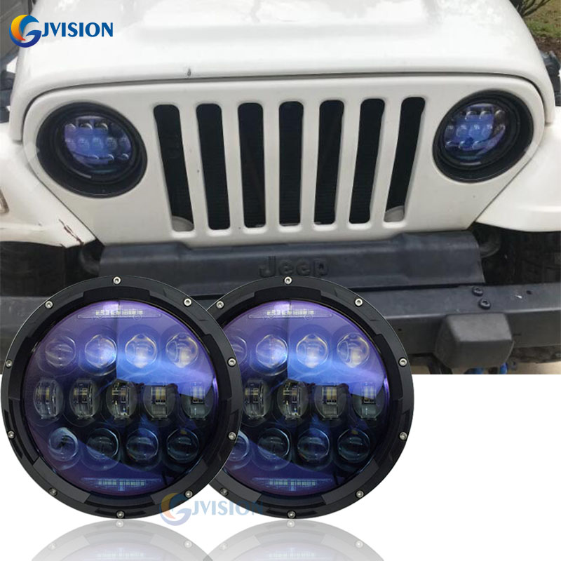 Преобразование круга 7 светодиодные фары комплект 130ВТ 7 дюймов синий объектив проектора для джип Вранглер по бездорожью Ровер Джоан Хантер УАЗ