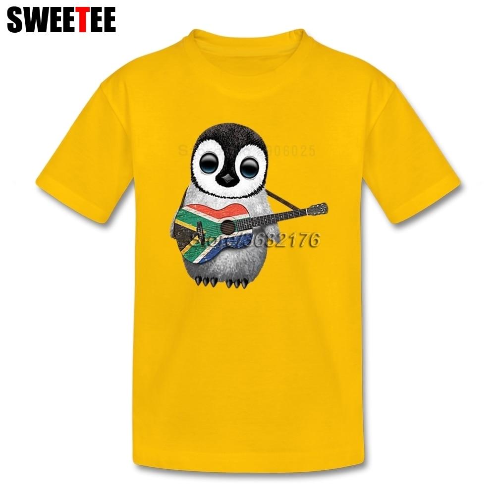 Детские Пингвин играет Южноафриканский флаг Гитары футболки для девочек короткий рукав Футболка детская забавная футболка верхняя одежда ... ...