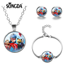 SONGDA 2019 New Magical Ladybug Jewelry Sets Anime Poster Printed Glass Cabochon Earrings Necklace Bracelet Sets Baby Girls Gift(China)