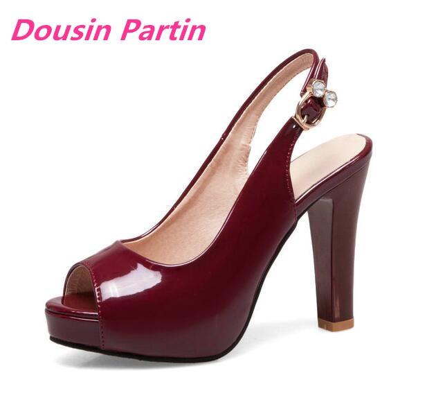 Dousin Partin Frauen Schuhe Mode Schnalle Alle Spiel Plattform Platz High Heel Peep Toe Frauen Sandalen-in Hohe Absätze aus Schuhe bei  Gruppe 1