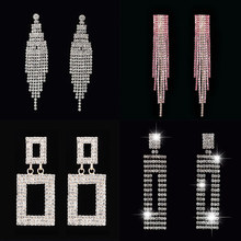 Fashion rhinestones colorful geometric earrings long Tassel dangle drop  women Bridal hanging wedding jewelry