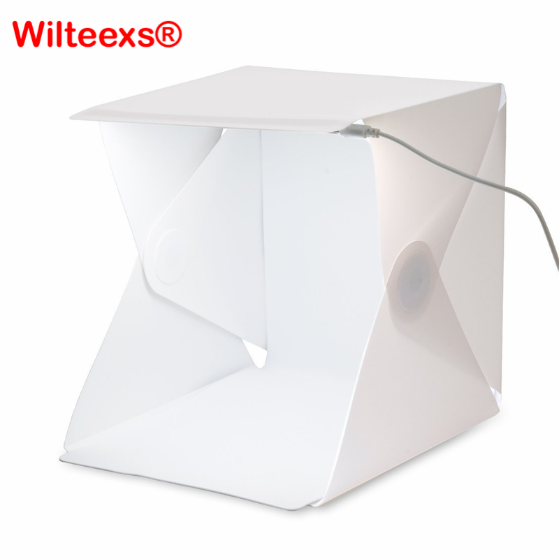 WILTEEXS Mini Photo Studio Box Telón de fondo de fotografía portátil Luz incorporada Photo Box Little Items Fotografía de telón de fondo