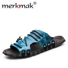 Merkmak 2017 Neue Ankunft Männer Sommerschuhe Echtem Leder Strand Urlaub Schuhe Flachen Pantoffel für Männer Casual Täglichen Schuhe