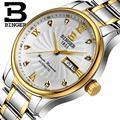 Homens relógios de pulso relógios de luxo da marca suíça binger b603b-3 luminosos relógios de pulso de quartzo cheio de aço inoxidável à prova d' água