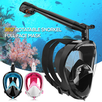 professional Anti fog Snorkeling Full Face Mask 360° Rotatable Snorkel Diving Scuba Mask with Detachable Camera Mount Unisex