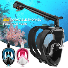 professional Anti-fog Snorkeling Full Face Mask 360° Rotatable Snorkel Diving Scuba Mask with Detachable Camera Mount Unisex