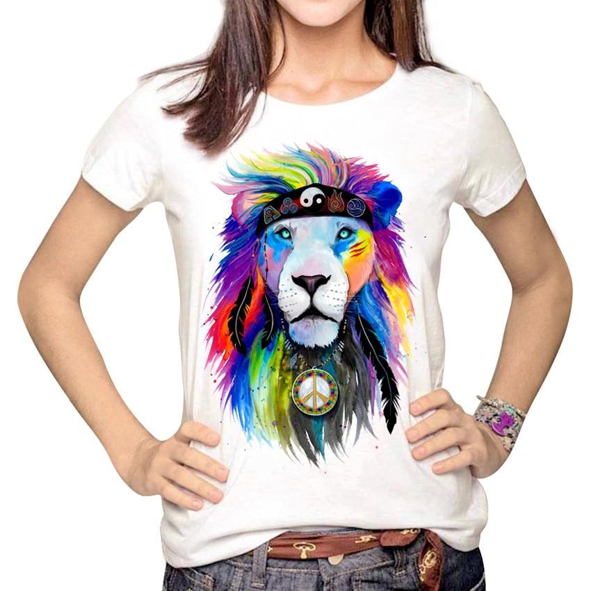 Summer Casual Women Short Sleeve Animal T Shirt Lion Tiger Wolf Print T-shirt Tops Women Ladies 2017 Brand Tee Shirt Femme S-XXL