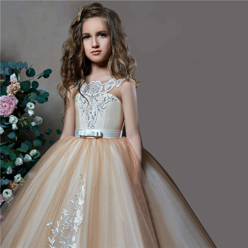 18dbb7a5693 ... Arabic Champagne First Communion Dresses For Girls Pageant Gowns 2018  Vestidos daminha Flower Girl Dresses For ...